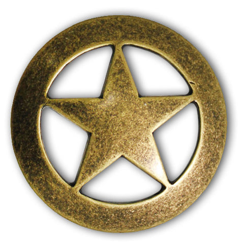 "2903SB-M12 1 1/2"" Antique Brass Texas Ranger Star Screw Back Concho, Conchos - Behind The Wire Shop"