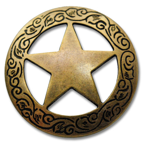 "2913SB-B12 3/4"" Traditional Texas Ranger Star Antique Brass Concho, Conchos - Behind The Wire Shop"