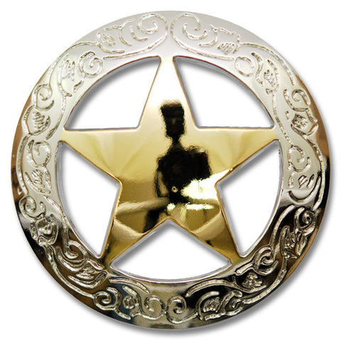 "2913SB-B41 3/4"" Traditional Texas Ranger Star Silver & Gold Concho, Conchos - Behind The Wire Shop"