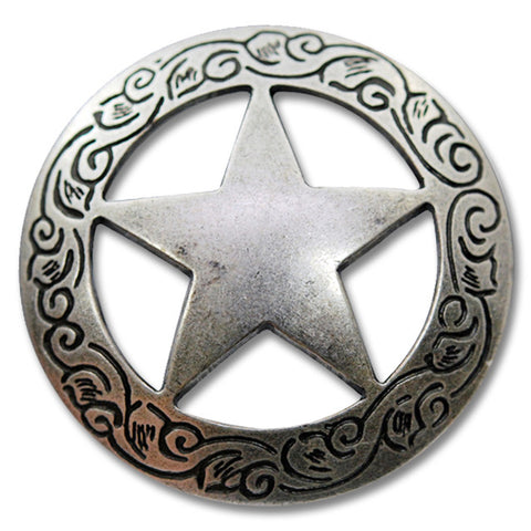 "2913SB-M06 1 1/2"" Traditional Texas Ranger Star Antique Nickel Concho, Conchos - Behind The Wire Shop"