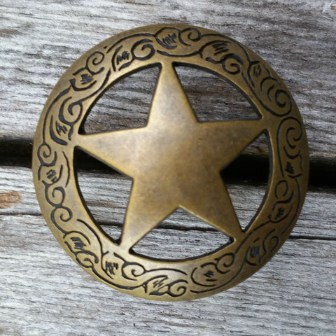 "2913WS-S12 2"" Traditional Texas Ranger Star Antique Brass Decorative Wood Screw, Decorative Metal Pieces - Behind The Wire Shop"