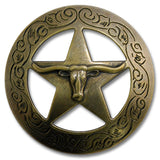 "2923SC-M12 1 1/2"" Antique Brass Traditional Texas Steer Saddle Concho, Conchos - Behind The Wire Shop"