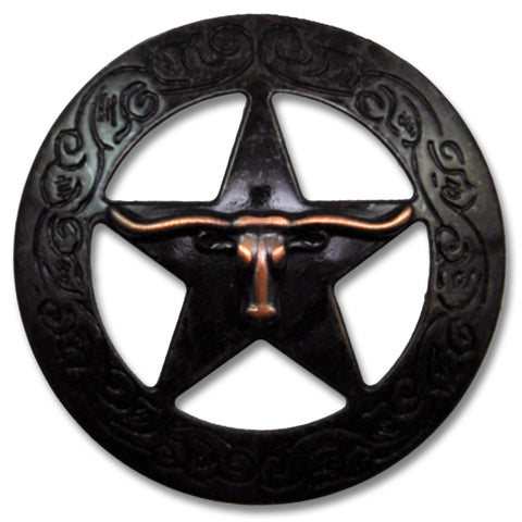 "2923SC-K48 1 1/8"" Rustic Rose Copper Traditional Texas Steer Saddle Concho, Conchos - Behind The Wire Shop"