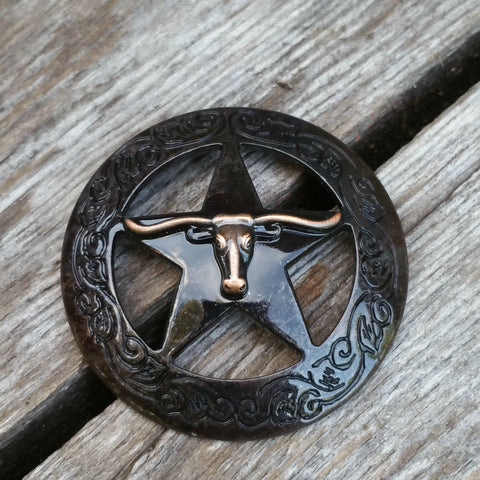 "2923WS-M48 1 1/2"" Rustic Rose Texas Ranger Longhorn Steer Decorative Wood Screw, Decorative Metal Pieces - Behind The Wire Shop"