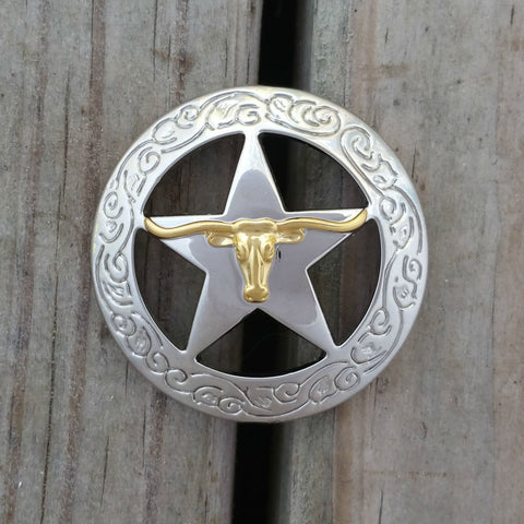 "2923WS-S41 2"" Silver & Gold Texas Ranger Longhorn Steer Decorative Wood Screw, Decorative Metal Pieces - Behind The Wire Shop"