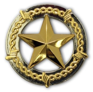 "2943SB-L41 1"" Silver & Gold Barb Wire Star Concho, Conchos - Behind The Wire Shop"
