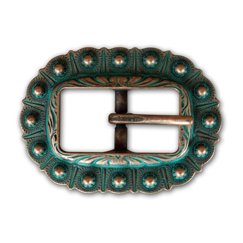 "3252-B40 3/4"" Copper Patina Western Beaded Style Center Bar Buckle, Buckles - Behind The Wire Shop"