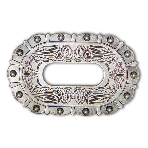 43510-15 Antique Nickel Berry Style Cinch Plate, Cinch Plates - Behind The Wire Shop