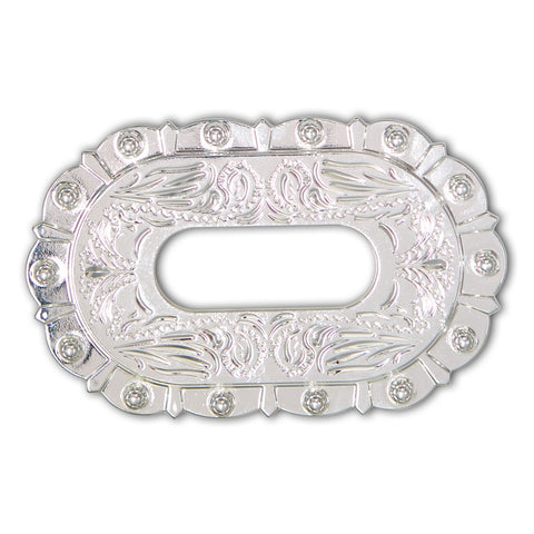 43510-01 Shiny Silver Berry Style Cinch Plate, Cinch Plates - Behind The Wire Shop