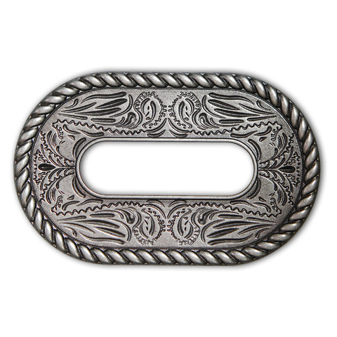 45510-15 Antique Nickel Rope Edge Cinch Plate, Cinch Plates - Behind The Wire Shop