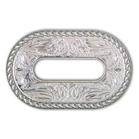 45510-01 Shiny Silver Rope Edge Cinch Plate, Cinch Plates - Behind The Wire Shop