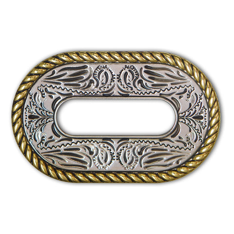 45510-41 Gold & Silver Rope Edge Cinch Plate, Cinch Plates - Behind The Wire Shop