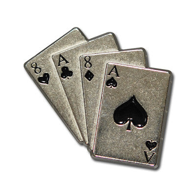 "5100-CC 7/8"" Aces & 8's Playing Card Club Decorative Metal Piece"