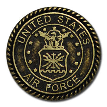 "5110-SN 1""  Antique Brass Air force Logo Decorative Snap Buttons, Snaps - Behind The Wire Shop"