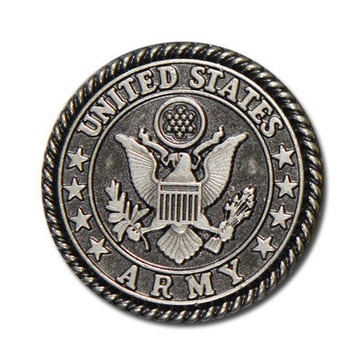 "5165-CC 1""  US Army Emblem Antique Nickel Round Decorative Metal Piece, Decorative Metal Pieces - Behind The Wire Shop"