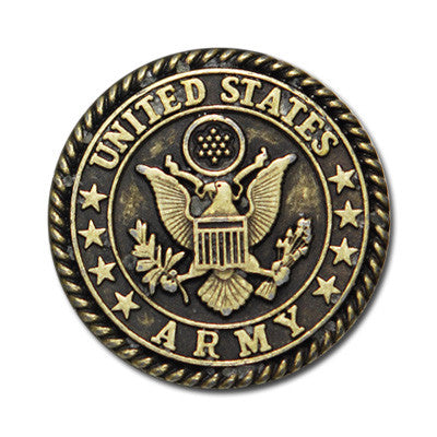 "5167-SN 1""  US Army Emblem Antique Brass Round Button Snaps, Snaps - Behind The Wire Shop"