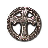 "5200-RC 3/4""  Western Open Berry Cross Antique Nickel Rivet concho, Conchos - Behind The Wire Shop"
