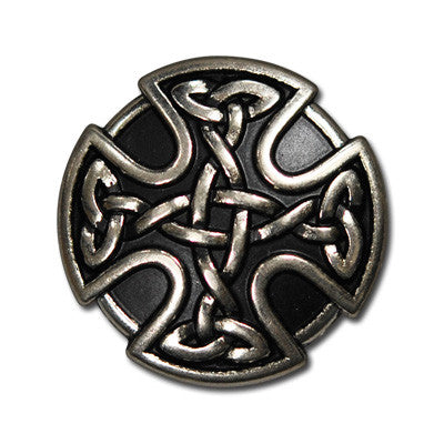 "5211-SN 1""  Antique Nickel & Black Celtic Knot Cross Decorative Snaps, Snaps - Behind The Wire Shop"