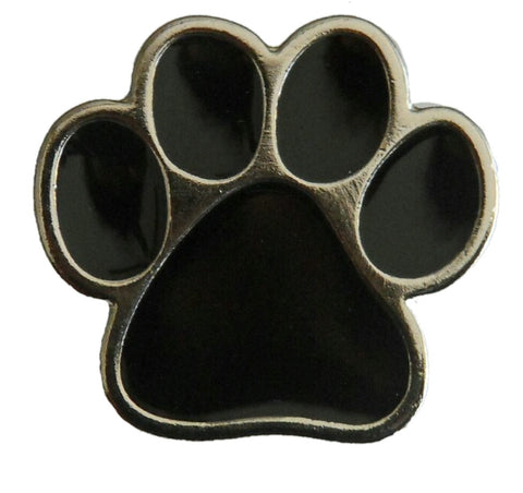 "5230-CC 5/8""  Silver & Black Dog Paw Print Decorative Metal Piece, Decorative Metal Pieces - Behind The Wire Shop"