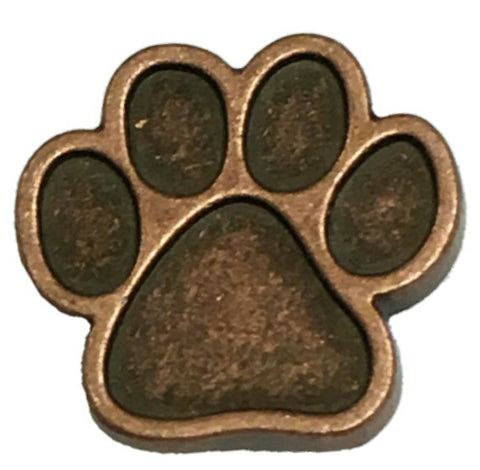 "5231-CC 5/8""  Antique Copper Dog Paw Print Decorative Metal Piece, Decorative Metal Pieces - Behind The Wire Shop"