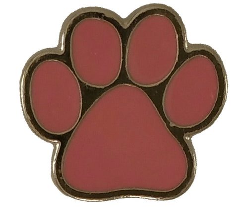 "5233-SN 5/8"" Silver & Pink Dog Paw Print Snap Button, Snaps - Behind The Wire Shop"