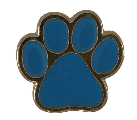 "5234-CC 5/8""  Silver & Blue Dog Paw Print Decorative Metal Piece, Decorative Metal Pieces - Behind The Wire Shop"
