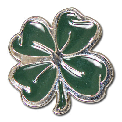 "5280-CC 1 1/8""  Lucky 4 Leaf Clover Nickel & Green Decorative Metal Piece, Decorative Metal Pieces - Behind The Wire Shop"