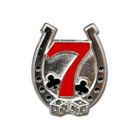 "5283-RC 3/4""  Black, Nickel & Red- Lucky 7 Horse Shoe, Clubs, & Dice - Decorative Rivet Concho, Conchos - Behind The Wire Shop"