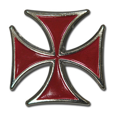 "5310-SN 1 1/8"" Red Maltese Biker Iron Cross Decorative Craft Buttons"