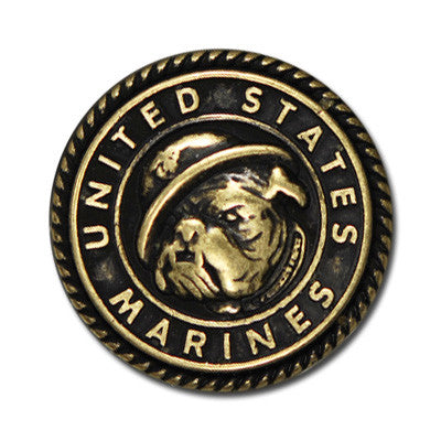 "5330-SN 1""  US Marines Bull Dog Emblem Antique Brass Decorative Metal Button Snaps, Snaps - Behind The Wire Shop"