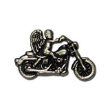 "5410-SN 1 1/2"" Antique Nickel Biker Guardian Angel on Motorcycle Decorative Snaps, Snaps - Behind The Wire Shop"