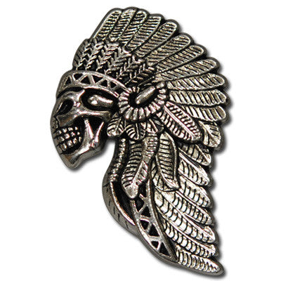 "5511-CC 1 3/8"" Antique Nickel Skulls with Tribal Headdress Decorative Metal Piece, Decorative Metal Pieces - Behind The Wire Shop"