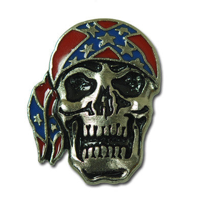 5483-RC Biker Skull with Rebel Flag Bandana Decorative Rivet Concho, Conchos - Behind The Wire Shop