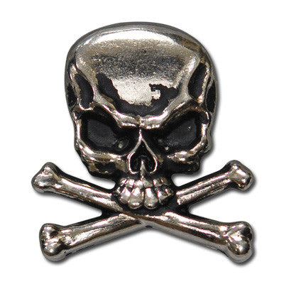 "5530-RC 1"" Antique Nickel Skull & Cross Bone Rivet Back Concho"