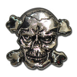 "5531-SN 1"" Antique Nickel Skull & Cross Bone Decorative Snap Buttons, Snaps - Behind The Wire Shop"
