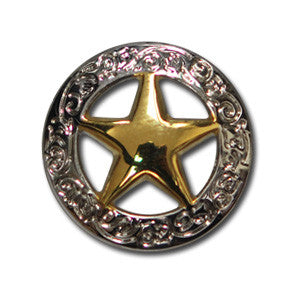"5621-CC 3/4"" Gold & Silver Texas Ranger Star Decorative Metal Piece, Decorative Metal Pieces - Behind The Wire Shop"