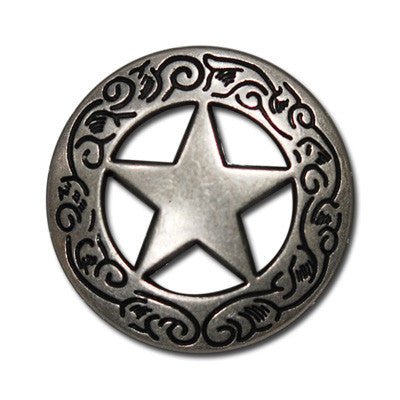 "5630-RC 1""  Antique Nickel Large Texas Ranger Star Rivet Concho, Conchos - Behind The Wire Shop"