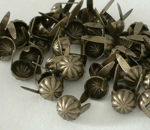 Antique Brass Decorative Parachute Domed Metal Spots and Studs for Leather Craft Work and Heavy Fabric.
