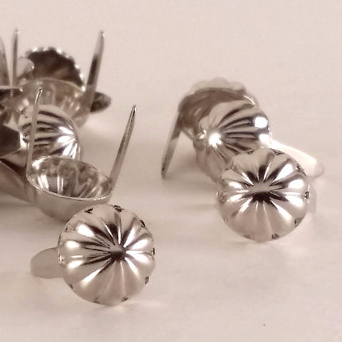"6411-E1 5/16""  Shiny Silver 2 Prong Western Parachute Decorative Spots & Studs, Metal Spots & Studs - Behind The Wire Shop"