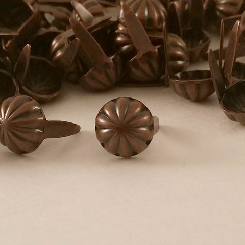 "6411-E28 5/16""  Antique Copper 2 Prong Western Parachute Decorative Spots & Studs, Metal Spots & Studs - Behind The Wire Shop"