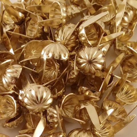 "6411-E99 5/16"" Gold Raw Brass 2 Prong Western Parachute Decorative Spots & Studs, Metal Spots & Studs - Behind The Wire Shop"