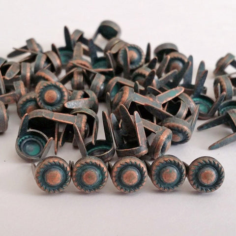 "6531-A40 1/4"" Copper Patina 2 Prong Western Rope Edge Decorative Spots & Studs, Metal Spots & Studs - Behind The Wire Shop"