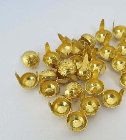 "6611-E99 5/16"" Gold Raw Brass 2 Prong Western Sunburst Decorative Spots & Studs, Metal Spots & Studs - Behind The Wire Shop"