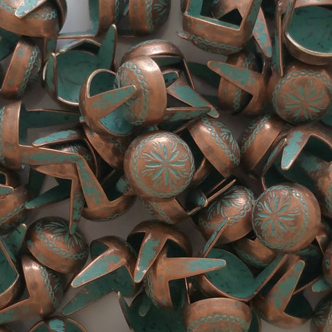 "6611-I40 3/8"" Copper Patina 2 Prong Western Sunburst Decorative Spots & Studs - Behind The Wire Shop"
