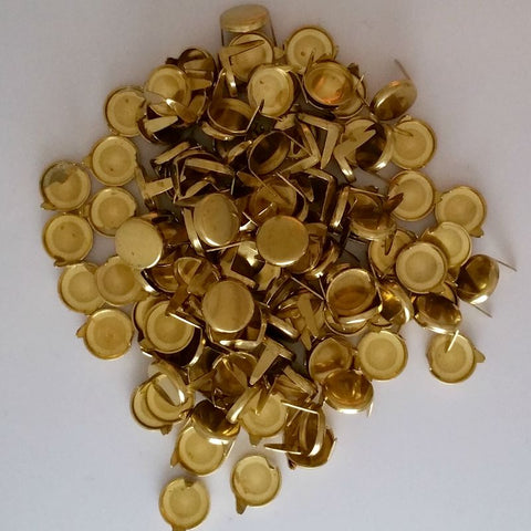 "6711-E99 5/16""  Raw Brass - Gold Flat Round 2 Prong Spots & Studs"
