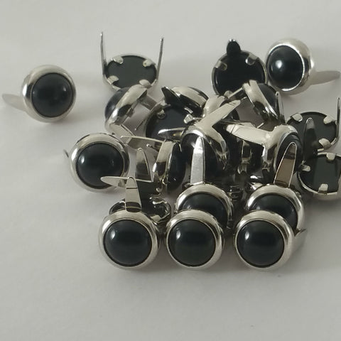 "71031-i29 1/2"" Black Pearl Gemstones with Round 2 Prong Nickel Setting, Gemstones - Behind The Wire Shop"