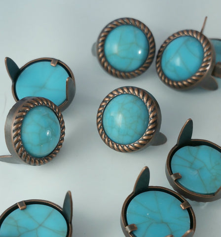 "7531-M06 1/2"" Rope Edge Turquoise Gemstones with Antique Copper Setting, Gemstones - Behind The Wire Shop"