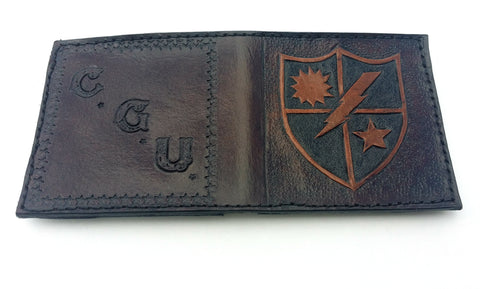 Custom Made Personalized Military US Army 75th Ranger Bi Fold Leather Wallet, Special Projects - Behind The Wire Shop