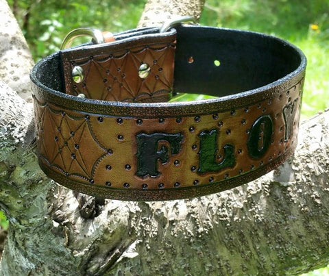 Personalized Black & Brown Leather Dog Collar with Name -The Floyd - Artist Choice, Dog Collars - Behind The Wire Shop