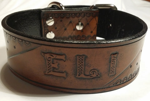 Brown & Black Personalized Leather Dog Collar - Artist Choice, Dog Collars - Behind The Wire Shop